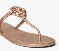 Tory Burch Mini Miller Jelly Flat Thong Sandal in Rose Gold Size 10