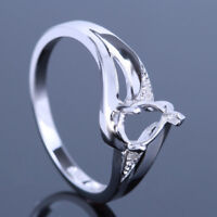 Hot 10K White Gold 6x5mm Pear Semi Mount Pave Real Diamonds Engagement Fine Ring