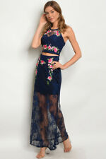 Misses Navy Blue Embroidered Lace Crop Top and Maxi Skirt Set SZ Small NWT