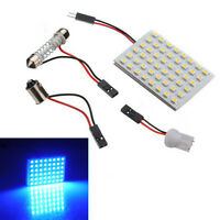 48 SMD Blue Panel Led Car T10 BA9S Festoon Dome Interior Lamp Bulb Light DC12V