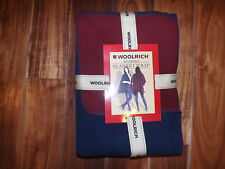 NWT Womens WOOLRICH Reversible Blanket Style Wrap Sweater Navy Burgundy One Size