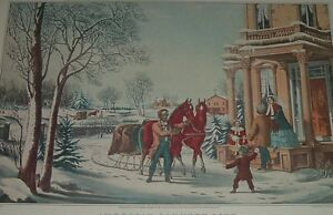 AMERICAN COUNTRY LIFE Pleasures of Winter HORSE SLED FAMILY Palmer Currier Ives