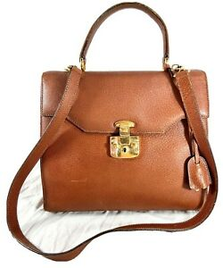 Distressed GUCCI Authentic Tan Leather Satchel Shoulder Bag Made in Italy