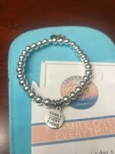 T JAZELLE BRACELET- FAMILY ABOVE EVERYTHING SILVER CHARM- W POUCH!- SOLD OUT!!