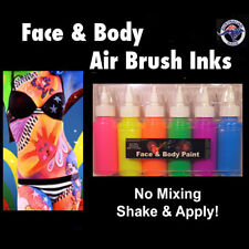 Airbrush Neon Fluoro Face Paint 6 x 60ml Airbrushing Ink Face Paint Airbrush Ink