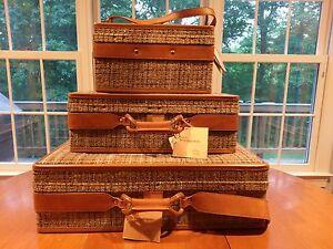Vtg Hartmann Tweed Leather Luggage Set Tan Brown Pullman Suitcase Train Case MCM