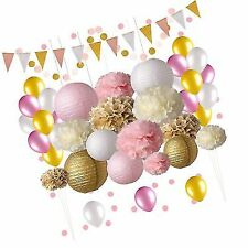 Pink And Gold Party Decorations 50 Pc Supply Set Paper Pom