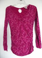 Fuchsia Slimming Gathered Sides Top Shirt Self Esteem Sz Large