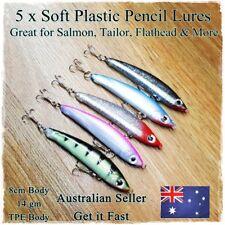 5 Soft Plastic Freshwater Fishing Lures Salmon Bream Bass Barra Flathead Pencil