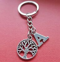 Family Tree Keyring and Initial Letter A to Z Keychain Charms personalise gift