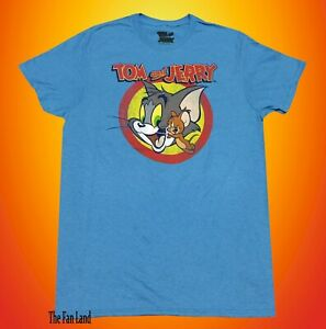 New Tom and Jerry Hanna Barbera 1940 Blue Men's Vintage T-Shirt