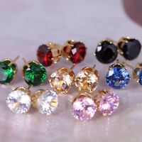 Blue Pink White Red Green Black Topaz Gemstone 18K Yellow Gold Filled Earrings