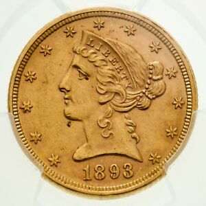 1893-S $5 Gold Liberty Graded by PCGS as MS-62! Gorgeous Half Eagle!