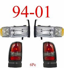94 01 Dodge Ram 4Pc Head & Tail Light Set, Truck, W/ Parking Lights, New In Box!