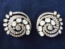 Pair Vintage 1940s Eisenberg Original Stirling Circular Swirl Fur Pin Rhinestone