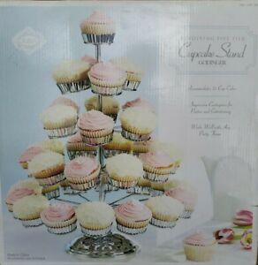 Godinger 5 Tier Revolving Cupcake Table Stand Server Chrome Holds 35 Cupcakes