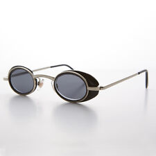 Small Spectacle Oval Vintage Sunglass with Silver Black Side Shields - Marty