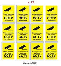 12 CCTV In Operation Warning Stickers Security Camera Safety Adhesive Signs Pack