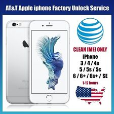 FACTORY UNLOCK AT&T Service Code   iPhone 7/7+/ 6s/ 6+/6/5s/5C/5/4s/4/3gs - Fast