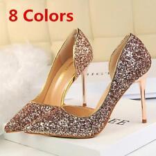 New Women Pumps Bling Shiny Stilettos Slip On High Heel Wedding Party Shoes Q328