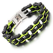Black Gold Heavy Biker Stainless Steel Motorcycle Chain Bracelet 16.5mm 9''