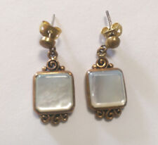 Bronze Vintage Style Square Earring With White Mother Of Pearl