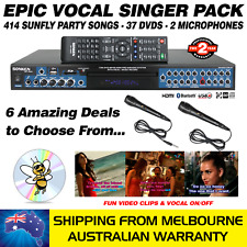 VOCAL SINGER MP4000 - 414 SUNFLY SONGS / 37 DVDS / 2 MICS - KARAOKE MACHINE