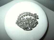 Pretty Vintage SHERMAN Silvertone & Clear Rhinestone Flower Basket Brooch Pin