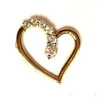 10k yellow gold .20ct SI1 H round diamond heart pendant 1.7g estate