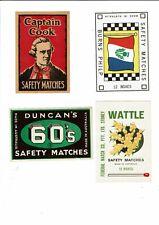 4 Old Australia c1900s packet matchbox labels Captain Cook, Duncans Wattle etc