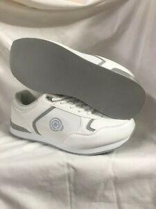 T838G  Unisex Dek Ladies Gents Bowling Trainer Style Shoe  White GREY Lace Up