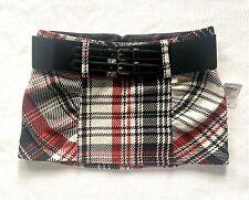 Vtg Plaid Schoolgirl Mini Skirt w/belt & Buckles Grunge 90s y2k nwt Sz M