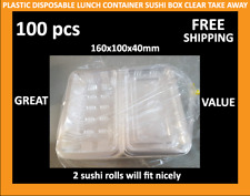 100 X 2ROLL Plastic Disposable Lunch Container Sushi Box Clear Takeaway BPA Free