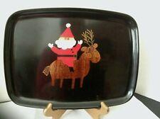 Vtg Mid-Century Modern Courac Tray ~ Inlaid Wood & Brass Reindeer Monterey Ca