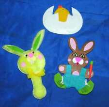3 VTG EASTER CRAFT APPLIQUES, LAYERED PADDED FABRIC, CHENILLE, BUNNIES, CHICK