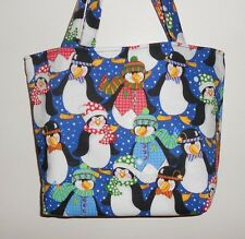 Handmade Christmas Penquins with Scarves & Hats Tote Purse Bag