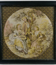 "Vintage Victorian Scene on Textile Fabric, Framed About 7"" x 7"""