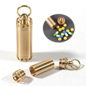 Brass Pill Storage Case Holder Keychain EDC Box Medicine Capsule Container
