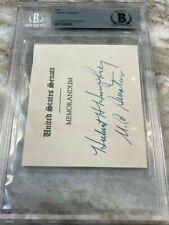 Hubert Humphrey Autograph Signed Beckett Bas Political President Lyndon Johnson