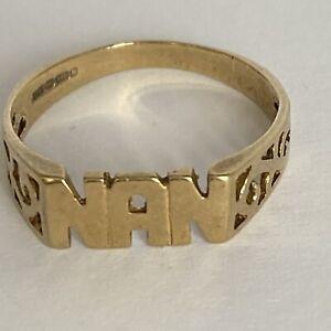 9 Carat Gold Ring 'NAN' Size M