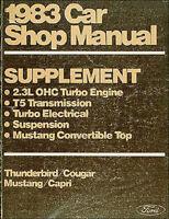 1983 Mustang Convertible Thunderbird Turbo Shop Manual Ford Repair Service 83
