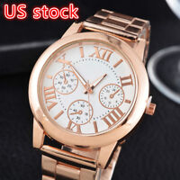 Women Girl Roman Numbers Quartz Analog Alloy Gold Plated Dress Wrist Watch Gift