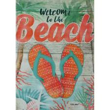Welcome Beach Shells Palm Tree Flip Flop Ocean Sand Mini Window Garden Yard Flag