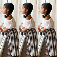 Toddler Kids Baby Girl Summer Tops T-shirt Long Pants 2Pcs Outfits Clothes Set