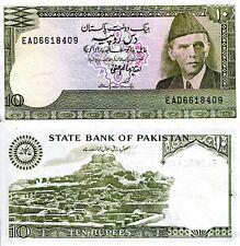 Pakistan 10 Rupees Banknote World Paper Money aUnc Currency Pick p39 Ali Jinnah