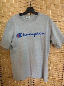 Champion Men's T Shirt Authentic Script Logo Size L Grey