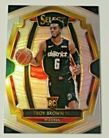 2018-19 Panini Select Silver Prizm Premier Level Troy Brown Jr RC #144 Wizards