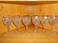 Vtg. The European Collection Set Of Six Diamond Pattern Wine Glasses Goblets