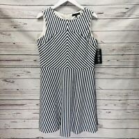 Sangria Womens Dress 10 Navy Blue Ivory Stripe A-Line Sleeveless Eyelets New