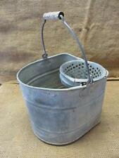 Vintage Galvanized Metal Bucket w Strainer > Antique Old Iron Pail Pot 9465
